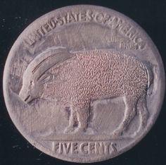 John Dorusa - Dove/Mountain Goat (Reverse) 2 Sided Carving Hobo Nickel, Goats, Buffalo, Classic Style, Mountain, Carving, Wood Carvings, Sculptures, Printmaking