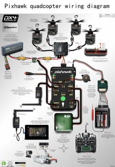 wiring diagram of the electronic components of the quadcopter rh pinterest com quadcopter esc wiring diagram quadcopter wiring diagram cc3d