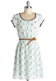 Meow's the Moment Dress - Mint, Black, Print with Animals, Pleats, Trim, Belted, Casual, Cats, A-line, Cap Sleeves, Good, Scoop, Chiffon, Sh...