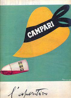 Vintage Italian poster for Campari Poster Retro, Poster Ads, Poster Vintage, Vintage Travel Posters, Poster Prints, Vintage Italy, Vintage Wine, Vintage Labels, Vintage Ads