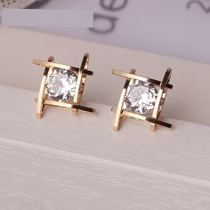 6b9ef9606 Buy Full Crystals Square Stud Earrings for Women on KeiraFashions.com :  Free Shipping WorldWide