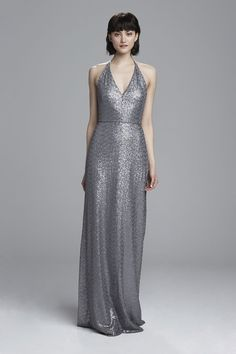 Elegant Looks for the Bridal Party by Amsale Bridesmaids Spring 2017 Amsale Bridesmaid, Spring Bridesmaid Dresses, Bridesmaid Outfit, Bridesmaids, Wedding Dresses, Minimalist Gown, Grey Gown, Sequin Dress, Bridal Gowns