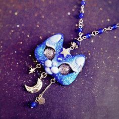 Night Star Blue Kitty Cat Necklace Handmade OOAK Polymer Clay Pendant With Moon Charm by FleurDeLapin