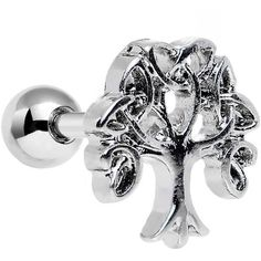 16 Gauge Celtic Trinity Knot Tree of Life Tragus Cartilage Earring ❤ liked on Polyvore featuring jewelry, earrings, celtic knot jewelry, celtic knot earrings, earring jewelry, celtic jewellery and celtic earrings