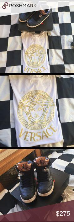 Jordan Retro 5 Olympics // Versace Shirt The Jordan's are a size 10.5 men's 1000% authentic it comes w original box and original insoles// the Versace shirt isn't authentic however it's a legit replica size S fits Medium too Jordan Shoes Sneakers