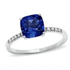 LOVE LOVE! Cushion-Cut Lab-Created Ceylon Sapphire Ring in 10K White Gold with Diamond Accents