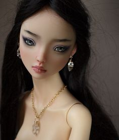 https://flic.kr/p/xBEbUL | Asian Resin Enchanted doll commission... | Asian resin Enchanted Doll commissioned faceup. Doll by Marina Bychkova.  Herkimer diamond earrings and necklace by Belle Nolia.