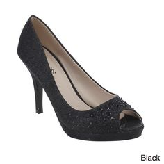 51d28cf68289 Exude elegance in this shimmering pump. Featuring peep toe
