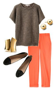Coral, Gold, Black, Gray Outfit