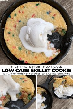This birthday skillet cookie packs 14 grams of protein with just 5 grams of carbs into each serving. And with only 3 ingredients, it's super easy to make. Low Carb Skillet Cookie: A Birthday Cake Protein Cookie Protein Desserts, Protein Snacks, Protein Cake, Protein Cookies, Healthy Protein, Low Carb Desserts, Protein Muffins, Easy High Protein Meals, Protein Oatmeal