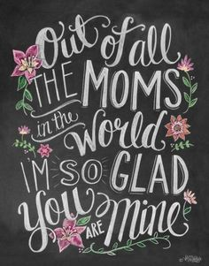 Happy mothers day wallpaper pictures for mom from daughter and son on this mothers day 2017. This picture quote reads... Out of all the moms in the world, I'm so glad you are mine.