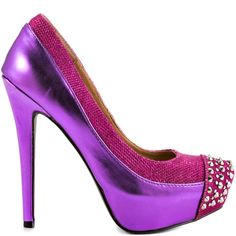The Faris will deliver a sassy look to any party dress.  This Penny Loves Kenny pump brings you a simple pink faux leather upper with textured glitzy trim and piping.  A 5 inch heel, stud encrusted vamp and 1 inch platform complete this sexy style.