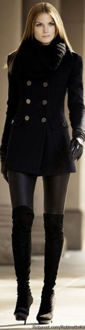 Fashion - all black, knee-high boots, leather leggings, peacoat, scarf