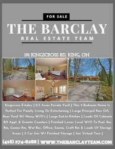 Kingscross Estates | 2.3 Acres Private Yard | This 4 Bedroom Home Is Perfect For Family Living Or Entertaining | Large Principal Rms O/L Rear Yard W/ Many W/O's | Large Eat-In Kitchen | Loads Of Cabinets B/I Appl. & Granite Counters | Finished Lower Level W/O To Pool. Rec Rm, Games Rm, Wet Bar, Office, Sauna, Craft Rm & Loads Of Storage Areas | 3 Car Gar W/ Finished Storage | See Virtual Tour | Price: $2,449,999 Call Us: (416) 274-8288