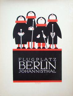 Poster by Julius Klinger (1876-1942), 1908, Berlin-Johannisthal Airport.