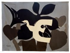 """L'Oiseau, d'après Georges Braque, tissage atelier de l'ENAD Aubusson (Denis Dumontet) Dès 1917, Antoine-Marius Martin (1869-1955), renouvèle l'art de la tapisserie- Sujets en allant chercher différents peintres de son époque. - Garder de l'art ancien des caractéristiques transposables à la modernité: réduire le nombre de couleurs, tisser avec des fils beaucoup plus gros, utiliser une écriture technique affirmée - Il remplace les cartons peints par des cartons à l'encre dits """"à tons…"""