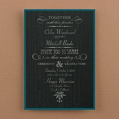 Subtle Elegance - Invitation - Black Moire with Teal