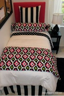 Pink, Green & Black Designer Teen & Dorm Bed in a Bag