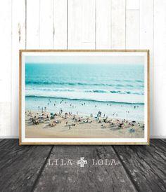 Beach Print, People Scene, Ocean Photography Wall Art, Coastal Decor, Printable Beach Art Instant Download, Modern Coastal Print Beach Photo