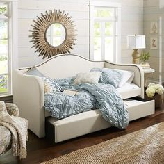 """Michelle Trundle Daybed - Taupe, 84""""W x 41.50""""D x 40.50""""H, This has a trundle pullout and a matress for top sofa/bed. so if we could make a fitted sheet that matches the couch then she could use the trundle as storage. Awesome. 800"""
