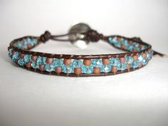 Brown Leather Single Wrap Beaded Bracelet  by LOVEwhatIdoDesigns