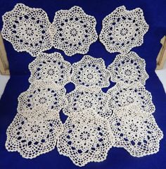 Destash Ecru Round Cotton Crochet Doilies 12 by SandysSupplyAttic, $11.00