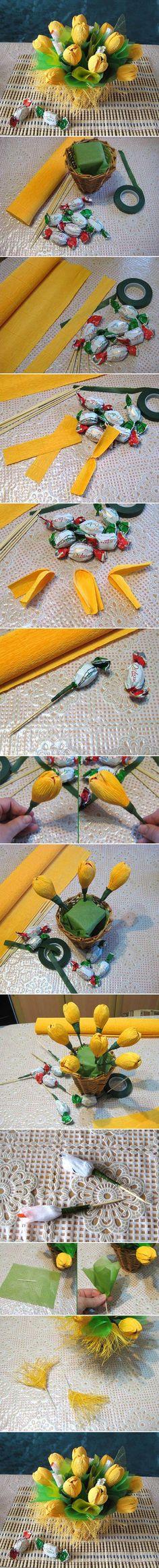 DIY Yellow Flower Candy Bouquet Una canastita floral. ¡Oh sorpresa!, eran caramelos.