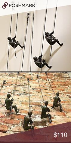 """NEW SOLID CAST IRON MAN CLIMBING WALL SCULPTURE 💯 Chic-meets-industrial in this thought-provoking take on wall décor. Crafted solid cast iron, the climbing man is a reminder of everyday triumphs & represents the rewards of work, or passion. This piece goes beyond the confines of design, and seeks to inspire the viewer, acting as a visual reminder of the challenges. This is for a single one 43""""Hx4.5""""Wx6.25""""Deep HANGS WITH PROVIDED SCREW (buy a couple & stagger as shown in photos) LAST PIC IS…"""