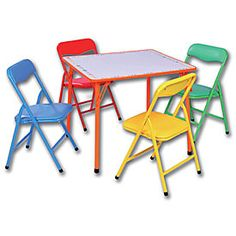 """5-Piece Kids Folding Dry Erase Table & Chairs  $49.99 Set  Set includes 4 folding chairs and folding table  Chairs lock in place for added safety  Dry erase board tabletop  Backrests and seats feature wipe-clean, vinyl covering  Tubular steel with powder-coated finish  Table: 24""""W x 24""""D x 20""""H  Chairs (each): 13""""W x 12-1/2""""D x 21-5/8""""H  SKU: 610010120  In Store Only"""