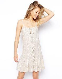 Needle & Thread Chalk Lace Peplum Dress - cream/chalk