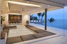 Check out our 71 pictures of stylish modern living room designs here. Huge variety, yet all are modern in design. Get inspired for your living room! Dream Home Design, Modern House Design, My Dream Home, Home Interior Design, Dream Homes, Modern Mansion Interior, Yacht Interior, Room Interior, Beautiful Living Rooms