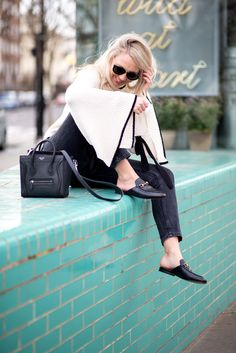 00ee6a90d3 everyday style inspiration | fashion blogger | gucci princetown slippers |  celine Nano | mango jumper