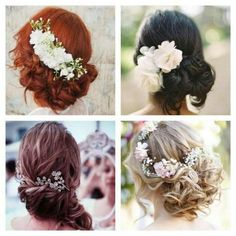 i love flowers, I think pretty flowers in all the bridesmaid's hair would be so pretty and elegant.