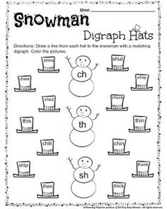 1st Grade December Digraph Worksheet - Snowman hats match. Draw a line from each hat to the snowman with the matching digraph.