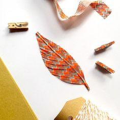 Handmade Feathers  Orange Gray and White Zig Zag Feather by kaetoo