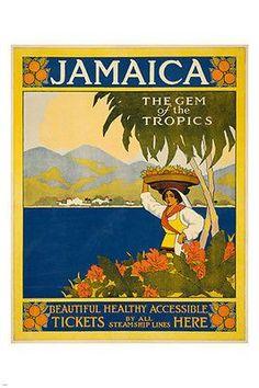 JAMAICA VINTAGE travel poster WOMAN FLOWERS OCEAN 24X36 picturesque island