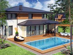 Dom o współczesnej bryle, nadążający za trendami ciekawą elewacją z elementami drewna i kamienia oraz dużymi przeszkleniami świetnie wpisujący się w stylistykę zarówno miejską jak i terenów słabiej zaludnionych.