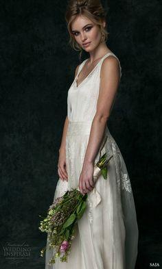 Saja 2016 Wedding Dresses   Wedding Inspirasi   STUNNING Silk Satin Column/Sheath Wedding Gown Featuring A Floral Embroidered Silk Tulle Overlay, V Neckline, Soft Flowing Skirt, Court Length Train>>>>