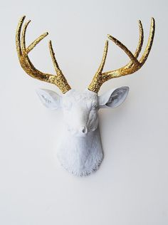 White Faux Taxidermy - The Winston - White W/ Gold Glitter Antlers Resin Deer Head