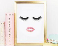 Makeup Print, Lips and Lashes Print, Vanity Decor, Eyelashes print, Lash Art, Eyelash Makeup Print, Fashion Print,Glamour decor,Beauty Print