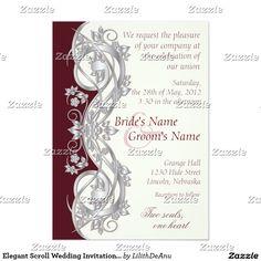 Elegant Scroll Wedding Invitation - Silver - 1