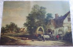 The Half Way House Thatcham 1848 Wood Print by Shayer William. All wood prints are professionally printed, packaged, and shipped within 3 - 4 business days and delivered ready-to-hang on your wall. Family Painting, House Painting, Charles Green, James Holland, Halfway House, Covered Wagon, Vintage Art Prints, Pre Raphaelite, Lovers Art