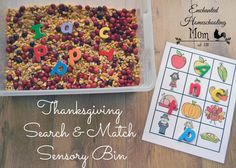 This fun Thanksgiving Search & Match Sensory Bin features a FREE printable Thanksgiving matching game and two ways to play!