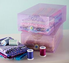 Organize precuts by color or collection using clear photo boxes. Hide them behind doors or buy boxes with a tint to them for colorful storage.
