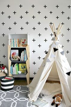 Kid bedroom | playroom | teepee | DIY Cross wall decals | stacked bookcase modern | black and white | DIY triangle banner