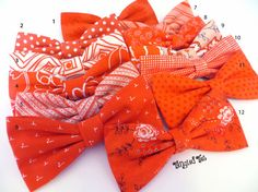 Hot Coral Bow Tie Mix And Match Coordinating by TangledTiesBowTies, $17.00