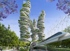 """Image 14 of 19 from gallery of Vincent Callebaut's 2050 Vision of Paris as a """"Smart City"""". Farmscrapers Towers from street level. Image Courtesy of Vincent Callebaut Architecture Futuristic Architecture, Amazing Architecture, Landscape Architecture, Architecture Visualization, Contemporary Architecture, Ville Durable, Vincent Callebaut, Future Buildings, Vertical Farming"""