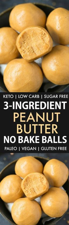 No Bake Keto Peanut Butter Balls (Paleo, Vegan, Low Carb)- Easy chewy, fudgy no bake peanut butter protein balls recipe ready in 5 minutes and needing 3 ingredients! A quick and easy… Ketogenic Desserts, Low Carb Desserts, Ketogenic Diet, Keto Fat, Low Carb Keto, Easy Snacks, Keto Snacks, Healthy Snacks, Keto Foods