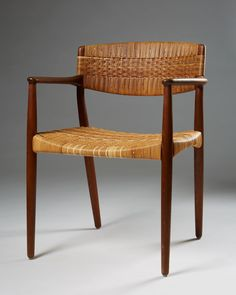 Chair designed by Ejnar Larsen and Aksel Bender Madsen for Willy Beck, Denmark, c.1950's | Teak and cane.