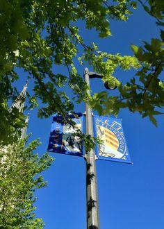 Marquette University banners near Gesu Church.